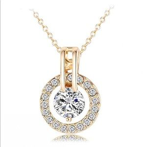 Jewelry - 18k Gold Plated Austrian Crystal Circle Necklace